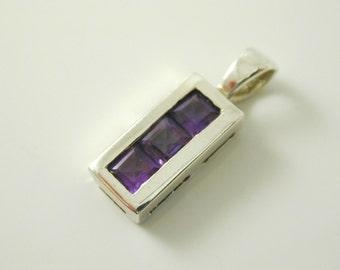 Amethyst trilogy drop pendant sterling slver 1.4 grams 0.54 carats