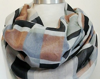 Black Grey and Hazel Brown Infinity Scarf / Fabric Scarf / Gift for Her / Gift Ideas.