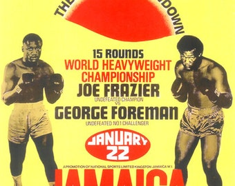 Boxing 1973 George Foreman vs Joe Frazier Poster Jamaica