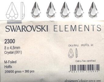 Swarovski ELEMENTS 8x4.8 Pearshape crystal hotfix.  Price is for 10