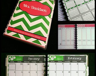 DREAM Handmade, Personalized Teacher Planner, Personal Agenda or Organizer, Disc or Spiral Binding, Custom Dates, 200+ Pages,