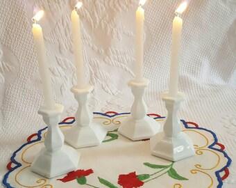 Vintage MILK GLASS mini candlestick holders set of four