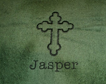 Cross Outlined Personalized Bath Towel ANY COLOR
