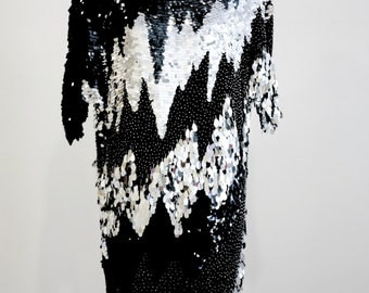 """Black and Silver Palette and Beaded """"Lightening"""" Gown"""