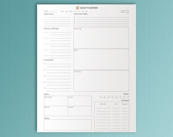 Daily Planner Printable Letter Inserts PDF Family Planner Daily Agenda Day Calendar Daily Organizer To Do Daily Routines  Instant Download