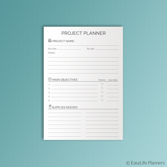 A5 PROJECT Planner Printable pdf Filofax A5 inserts 583x827 – Project Planners