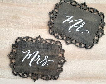 Wood Sign - Mr. and Mrs. CHAIR SIGNS - calligraphy Hand Lettering filigree wooden