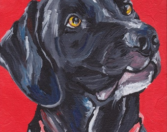 Black lab art print from original painting, black labrador