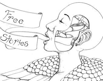 Free Stories- 5x7, 8X10, Art Print, Illustration