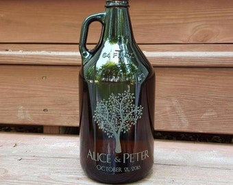 Personalized Beer Growler - Custom Beer Growler 64oz- Personalized Growler Engraved- Amber Color