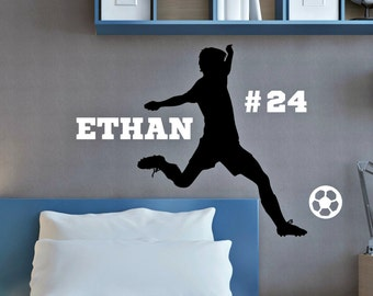 Personalized Soccer Player -  Vinyl Wall Decal with Name - Soccer Wall Decor - Male Soccer Player - Boy Soccer Decal - Boys Soccer Decor