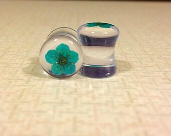 00 teal flower plugs