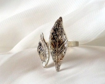 Leaf ring , stackable leaf ring , Sterling silver ring , stacking ring , silver leaf ring , woodland ring , botanical ring , thin band ring