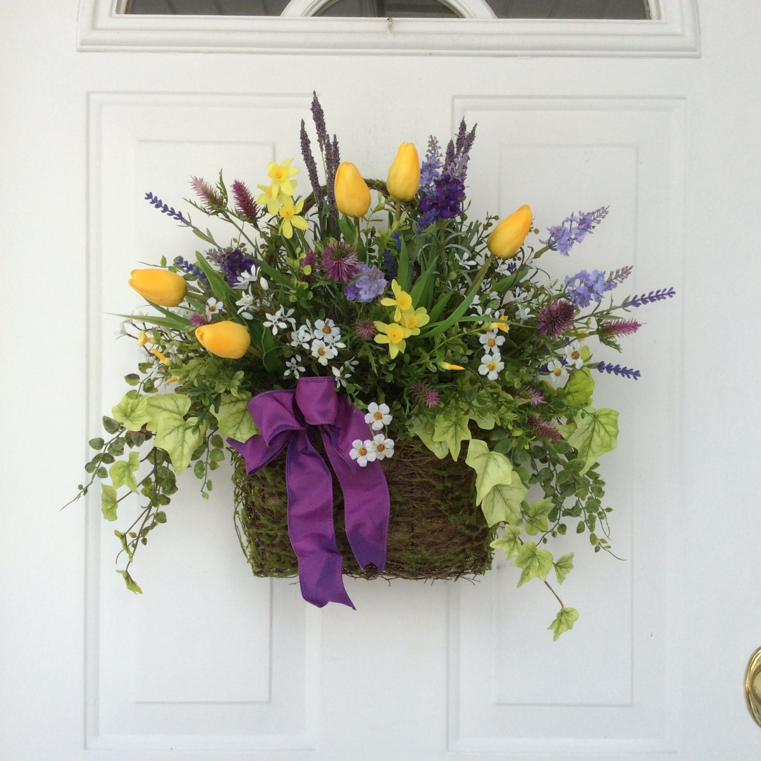 Front Door Baskets: Spring Wreath-Spring Door Basket-Easster Wreath-Summer
