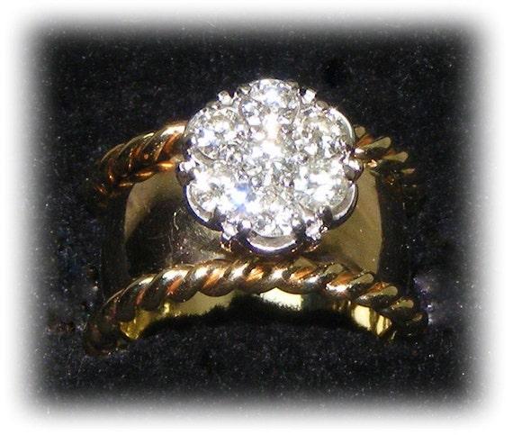 14K Gold & Diamond Custon Designed WEDDING RING,  (size 6 1/2 - 7)     (Ladies Ring)