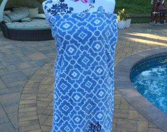 Monogrammed Plush Bath Towel Wrap - Personalized - BLUE Geometric Pattern - Wedding Bride Pool Spa Robe - Women OSFM