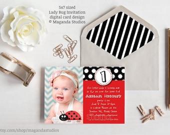 Lady Bug invitation - Birthday Party - Black and White Polka Dot