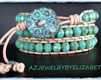 Handcrafted Blue And Beige Leather Wrap Bracelet, Beaded Leather Wrap.