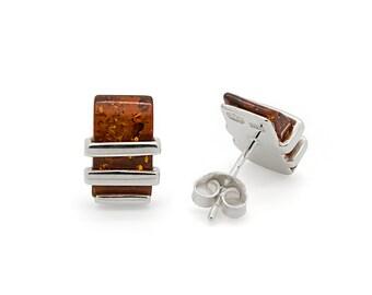 Rectangle Earrings - Modern Stud Earrings - Rectangle Stud Earrings - Amber Stud Earrings - Amber Rectangle Earrings - Amber Jewelry