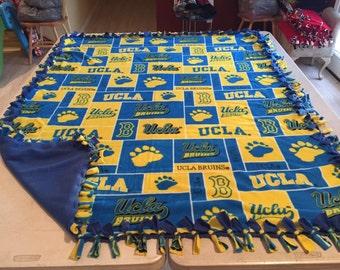 Beautiful hand tied, fleece UCLA blanket