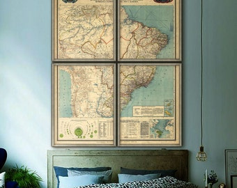 "Map of Brazil 1908, Large vintage Brazilian map, 5 sizes up to 60x80"" (150x200cm) in 1 or 4 prints, also in blue - Limited Edition of 100"