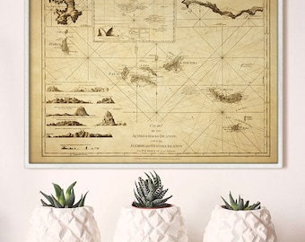 """Azores map 1775, Old map of Açores Islands, 4 sizes up to 48x36"""" (120x90 cm) Azorean islands map, also in blue - Limited Edition of 100"""