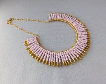 Gift For Eid, Mothers Day Gift, Pink Necklace, Gift For Wife, Bead Necklace, Statement Necklace, Bib Necklace, Seed Bead Necklace, Gift