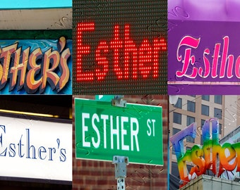 Personalized Puzzle featuring the name ESTHER in photos of actual signs; Name puzzle; Children; Custom toy; Birthday gift; Jigsaw puzzle