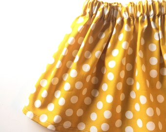 Mustard Dots Skirt - You Choose Size