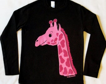 KIDS BROWN T-shirt with Screen Printed Pink GIRAFFE