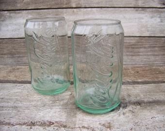 Pair Coke Glass Vintage Coca Cola Glasses Green Glass Coke Bottle Coke Memorabilia Soda