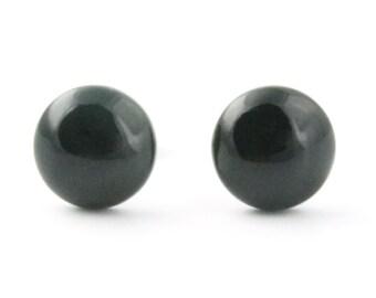 Black Nephrite Jade Earrings, 0577