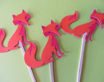 Fox Party Picks - Party Picks  - birthday party picks, cupcake toppers,