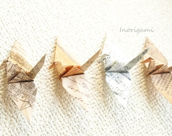 "1000 Origami 3"" Cranes ( Senba-zuru )/ Old Paper Design / Decoration / wedding / Party / interior / Japanese style / Gift"