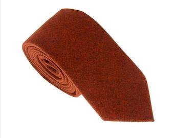 Orange Wool Tie.Wool Skinny Tie.Orange Wedding Necktie.Groomsmen Ties.