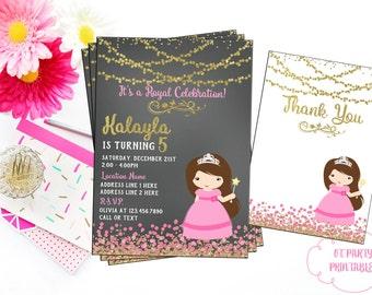 Princess Birthday Invitation - You Print - Princess Theme Invitation - Pink and Gold Princess Invitation - Custom Princess Invitation