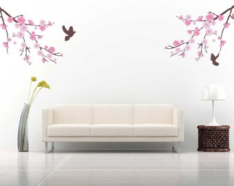 Cherry Blossom Wall Decal Birds and Branches Wall Sticker Home Decor