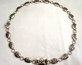 Vintage Southwest sterling silver concho belt, fits waist up to 33 inches