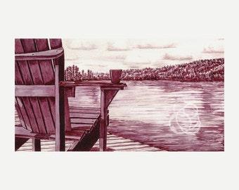 "Fine Art Print: Wine Painting ~ ""Morning on the Lake"""