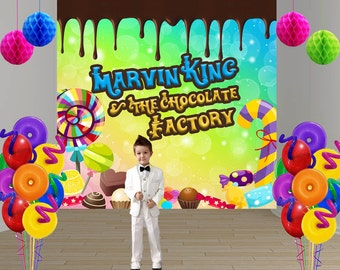 Chocolate Factory Personalized Photo Backdrop -Candy Land Photo Backdrop- Birthday Large Photo Backdrop, Sweet Treats Backdrop