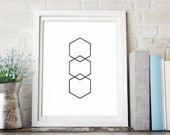 Hexagon Printable Art, Geometric Printable Wall Art, Black and White Abstract Art, Hexagon Digital Download, Minimalist Printable Decor