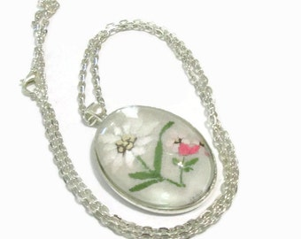 Handkerchief Necklace,  Fabric Pendant, Oval, Embroidery, White, Pink Flowers, Silver Tone