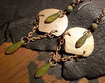 Copper Earrings-Rustic Bohemian Earrings-Artisan Earrings-Long Hippie Earrings-Boho Jewelry