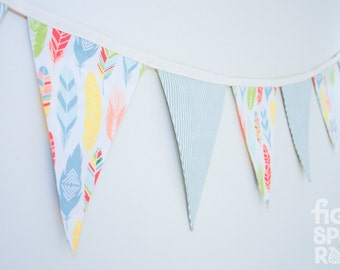 Fabric Bunting - Fancy Feathers-- Baby Gift, Nursery Decor, Home Styling, Party Decoration, Baby Shower Gift, Photography Prop, Bedroom