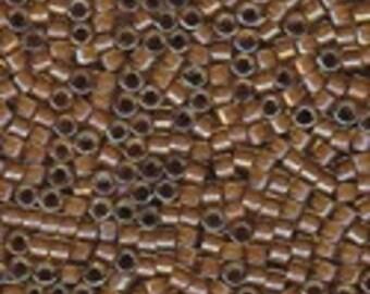 MIYUKI #11 Delica 1738 - Cocoa Lined Chartreuse AB - 5 grams
