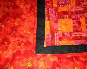 Orange Sticks  & Stones  Quilt