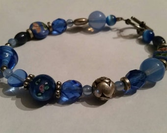 Blue Glass and Sterling Silver Bracelet Beaded Crystal Jewelry