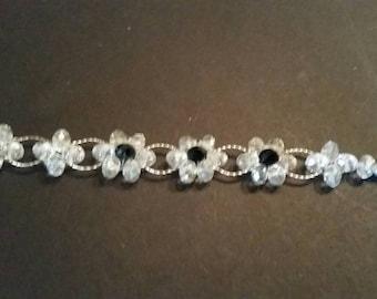 Vintage Crystal Bracelet Clear Black Flower Costume Jewelry