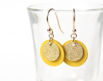 New ⋆ Ear pendants CANDICE | yellow suede leather and golden sequin