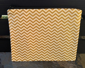 Gold Chevron Zipper Pouch